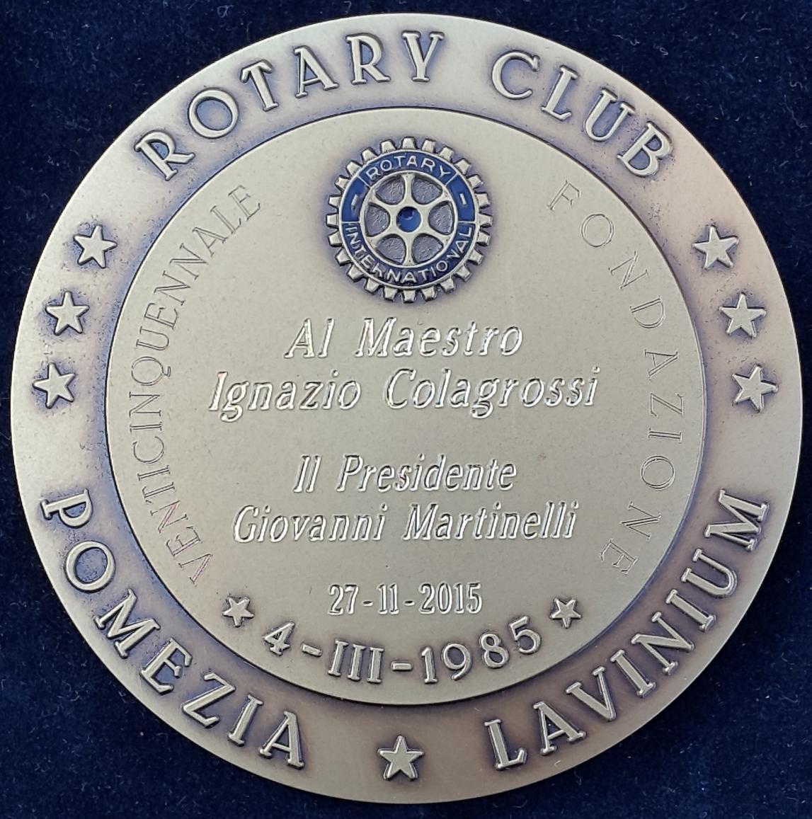 2Madaglia - Rotary Club Pomezia Lavinium - dietro