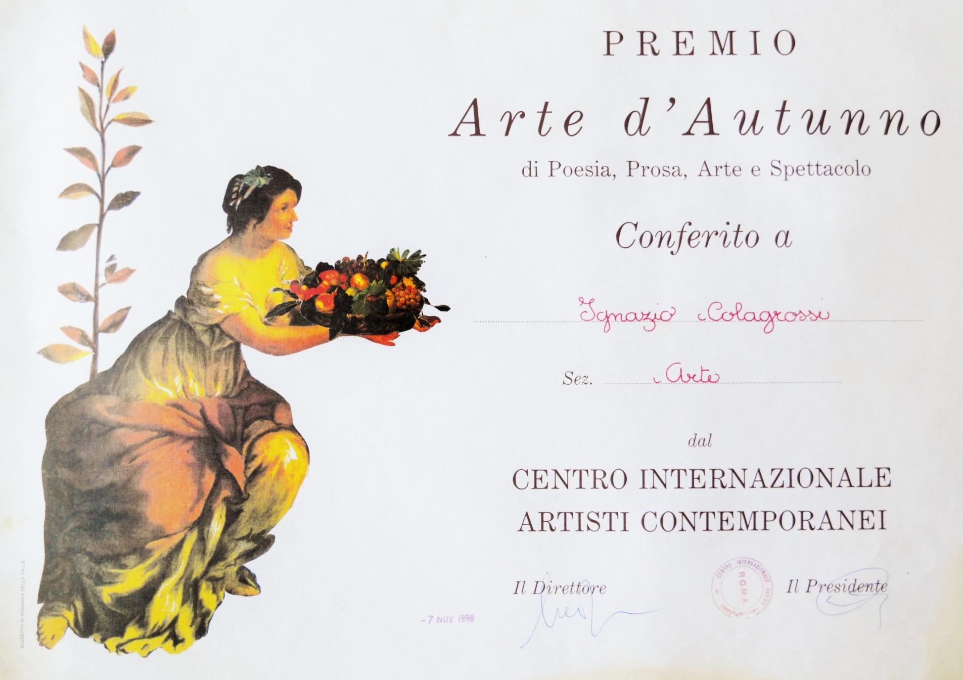 31 ottobre 7 nobembre 1998 premio arte d'autunno attestato