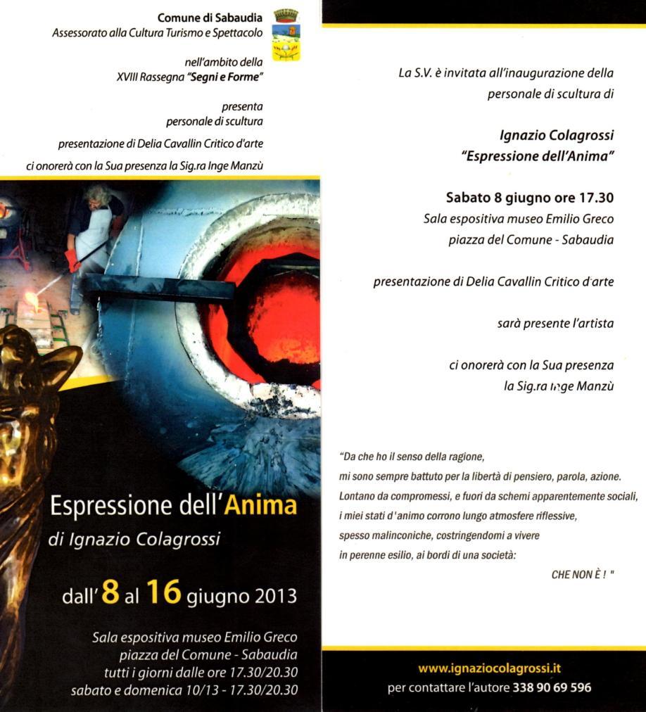 8 giugno 2013 locandina mostra Emilio Greco
