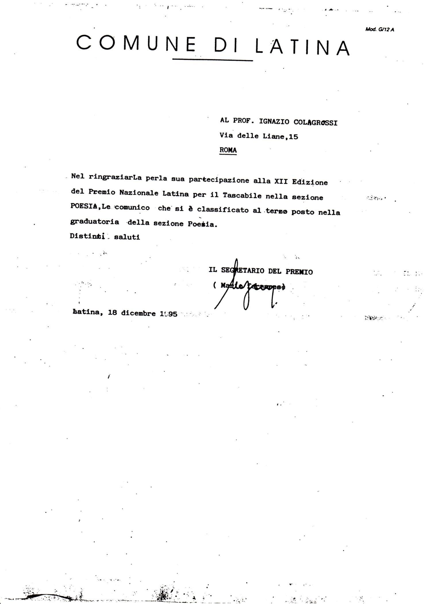 18 dicembre 1995 premio Nazionale di Latina per il tascabile