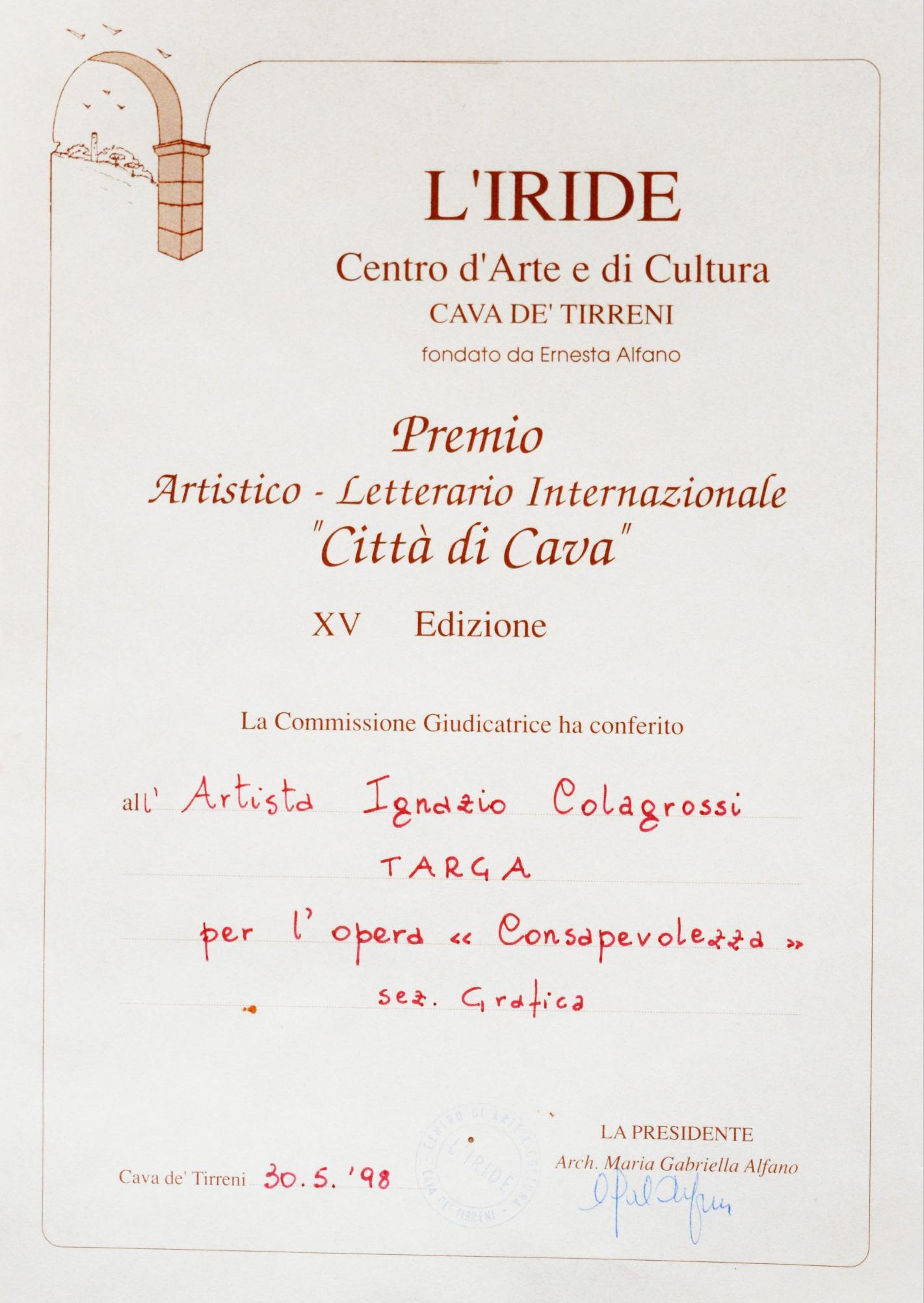 30 maggio 1998 attestato iride